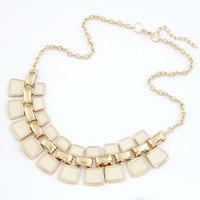 2014 New Bohemian Design Enamel Square Gold Costume Choker  Statement necklace for Women men Accessories Jewelry