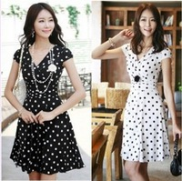 2014 Sexy Career Women's Clothes High Waist Slim Short Sleeve V Neck Polka Dot OL Dress Vestidos De Fiesta 2 Colors S-XL 9580