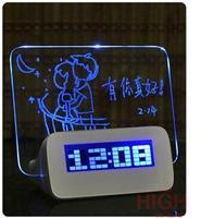 DHL Free Shipping 100pcs/Lot 4 Ports USB2.0 Hub Memo Board Azan Clock LED Alarm Clock with Memo Board and Color LED Display Hot