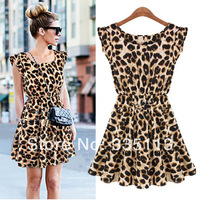 2014 Hot Sale ZANZEA Fashion Summer New Sexy Women Ladies Leopard Printed Loose Sleeveless Party Casual Mini Dress
