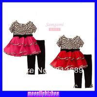 baby 2 pc set suits leopard black red rose lace suit kids girls girl suit short sleeve P30142 xs021