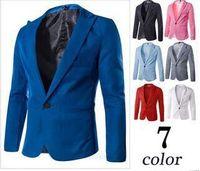 2014 Men's Blazers Fashion Slim Casual Wear Jacket Blazer Coat  Suits 7 colours 5 size Free Shipping
