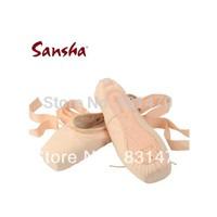 Promotion! Good quality Sansha crown pink canvas ballet dance pointe shoes ballet toe shoes women's practice shoes free shipping
