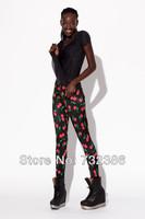2014 New spring autumn summer blackmilk spandex 3D cherry print tights harajuku fashion disco pants for women's wholesale