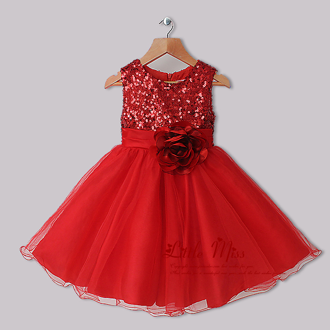 Dresses red and red flower sequins dresses princess party dresses kids