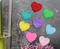 Set of 1000pcs 20mm Felt,Heart Shape,Cotton Fabric multiple Colors wholesale free shipping for Clothes Applique-by0110b