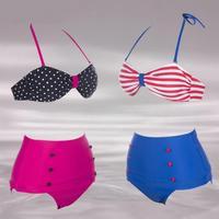 Retro High Waisted Bikini Set Vintage Bandeau Fashion Top Brand Swimsuits Suit Swimwears Black, Pink Color S, M, L, XL