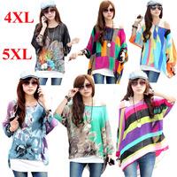 Wholesale 3xl 4xl 5xl 6xl plus size women new 2014 summer maternity blouse shirt print stripe casual batwing chiffon blusa tops