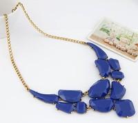 Fashion Vintage Necklace Imitated Gemstone Jewelry Geometric Choker Necklaces Pendants Statement necklace for Women Bijoux