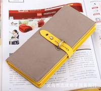 19*9*2cm Fashion Nubuck leather drawstring style buckle women's long design wallet color block Purse wholesale