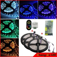 15m 12v DC 72w No-waterproof RGB 5050 led strip light 60led/m+ Wireless RF Dimmer Control Touch Remote Controller+ 12v 15a power
