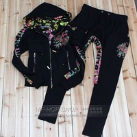 2014 Brand New Style DS Russian Eagle Flowers Back Cross Classic Printed Long-Sleeve Pants Women's Suit - Free Shipping