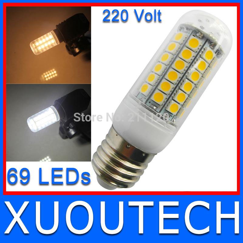 NEW Arrival 2014 69LEDs SMD5050 5W E27 LED Corn Bulb Lamp Equal to 15W AC220V Warm Cool White LED Lighting Free/Drop Shipping(China (Mainland))