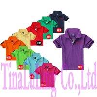 2013 Brand New Summer Short Sleeve Turn Down Collar t shirts Kids Sport t-shirts Brand T shirts boys girls tees with Horse logo