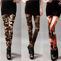 P17 New Arrival Autumn EUROPE Camouflage Pattern Scrawl Print High Waist Skinny Elasticity Pants Fashion Women's Leggings