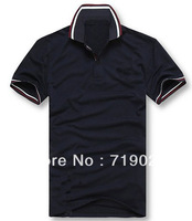 New 2013 Men Brand Shirt Fashion Slim Fit Casual Shirt Men's Short Sleeve Pique POLO Shirt Collar Grid FreeShipping  Z-318