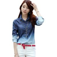 TC women clothing blue color autumn summer women blouses gradient women long sleeve denim shirt women tops blouses hot selling