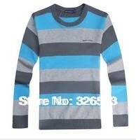 2014 Fashion Slim o-neck sweater men's clothing New Spring Korean striped cotton round neck sweater men sweater  sweater tide