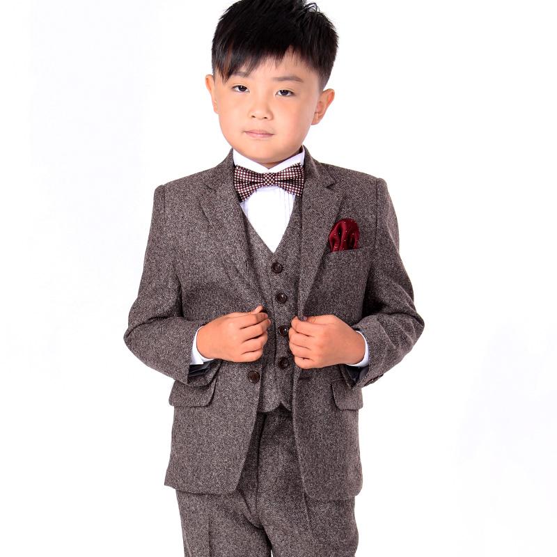 brown kid's formal outfits/children's formal attire/ceremonial suits/3 pieces(jacket,vest,pants) set/ boy's three-piece suit/B08(China (Mainland))