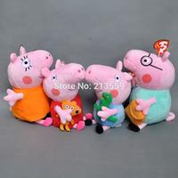 "Free Shpping 4pcs Peppa Pig Family Plush Doll Stuffed Toy DADDY & MUMMY Peppa & GEORGE 7""-8"" Retail"