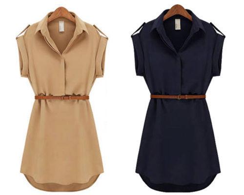 2014 Fashion Women Ladies short Sleeve Chiffon Casual OL Belt Shirt One Piece Mini Dress S M L XL Plus Size Free Shipping(China (Mainland))