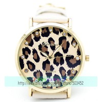 100pcs/lot Exclusive Design Leopard Print Ladies Leather Watch Crystal Dial Geneva Brand Quartz Watch Cool Style Dress Watch
