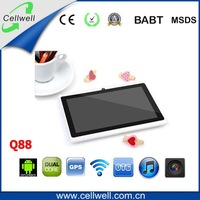 dhl free shipping 7 inch android 4.0 512MB 4GB WIFI Two Camera Capacitive Screen Q88 allwinner a23 dual core  tablet pc