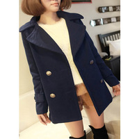 Free Shipping 2014 Women's winter jacket wool coat lapel loose women thicker coat double-breasted jackets