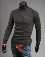 Hotsale M-3XL size Men retro cotton cultivation sweater V neck  pullover sweater for men fashion cashmere sweater
