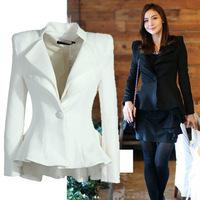 2014 Winter white Tuxedo Women Blazers And Jackets Chaquetas Mujer Black Blazer Branco Feminino S M L Free Shipping !