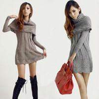 2013 Fashion Women sweater dress winter warm woman pullover ruffle long knitwear +scarf shawl grey,brown,beige,black,navy blue