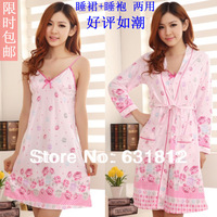 Autumn sleepwear women's twinset spaghetti strap sexy sleeve robe 100% cotton Robe Sets
