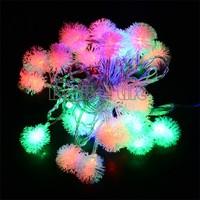 *NEW 2014 5M 28 LED Fuzzy Ball String Fairy Light Christmas Xmas Party Wedding Decoration 100-220V EU Plug TK1342