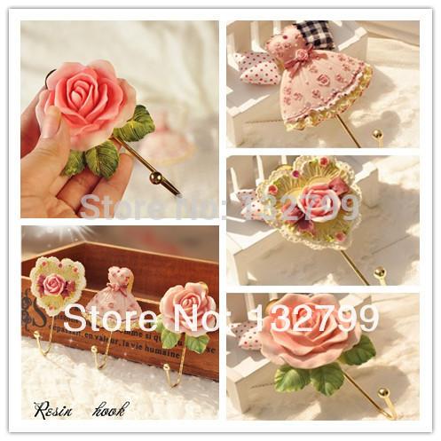 3PCS/lot Wall Mounted Vintage Rose Hat Coat Robe Hook Door Bathroom Towel Clothes Rack Hanger Resin()