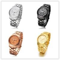 Hot sale Brand Gold Plated Stainless Steel fashion man women ladies Janpan Quartz Mens WristWatch , Dropship