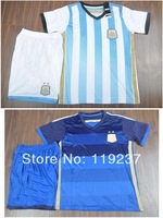 2014 world cup Argentina home soccer football jersey + Shorts kits, MESSI KUN AGUERO best quality soccer uniforms Sports jerseys