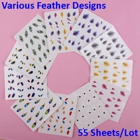 55 Sheets  Nail Art Peacock Feather Nail Wraps Water Transfers Decal  Free Shipping