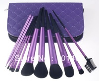 New Professional 11pcs professional makeup brush set in Purple pouch