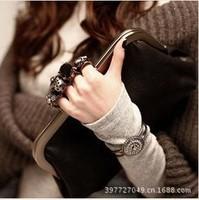 New 2014 vintage black women evening bag chain mini  gem skull ring  day clutch evening bag cross-body women's handbag 1007