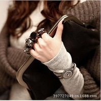 new 2013 vintage chain mini bag gem skull ring bag day clutch evening bag women's handbag 1007