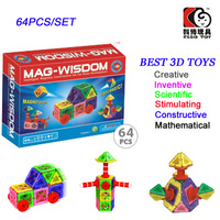 64PCS Mag-Widsom Construction Blocks Magnetic Building Toys Lot for Children Magformers