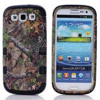 1piece Free Shipping Three mixed real tree camo crusty case for Samsung Galaxy S3 I9300