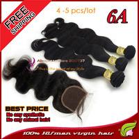 UMA 4pcs to 5pcs a lot 6A Peruvian virgin hair with lace closure unprocessed hair bundles body wave human weave hair extension