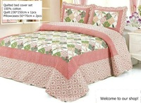 beige floral printing 3 pcs cotton ruffle queen comforter set