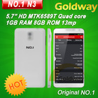 No.1 N3 MTK6589T Quad Core Mobile Phone 1GB RAM 8GB ROM Android 4.2 13MP Camera OTG 3G WCDMA GPS Wifi 2013 New Free Shipping OTG(Hong Kong)