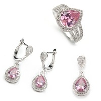 Micro inlays jewelry Fashion Pink  Cubic Zirconia 925 silver Beautiful heart set (ring/earring/pendant) 3A228 set sz6 7 8 9