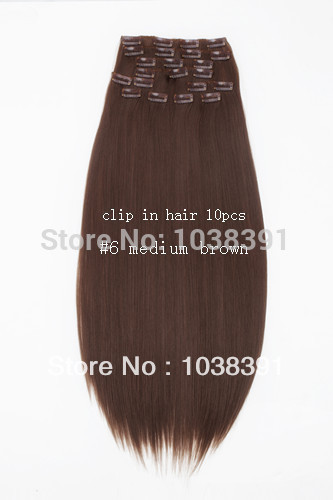 Beauty Long Hair Synthetic Clip In Hair Extensions Straight 24 26 28 30 32 34Inches #6 Medium Brown 200g/set 10pcs/set(China (Mainland))