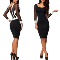 2014 new women spring winter long sleeve celebrity bandage dress elegant bodycon party pencil dress knee length casual dress