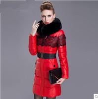 2014 lace thickening large fur collar slim medium-long down coat female desigual free shipping
