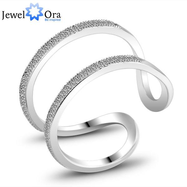 Elegant Designer Wedding Accessories Rings For Women Jewelry Silver Adjustable Rings (JewelOra Ri101204)(China (Mainland))